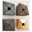 Geometrische kunstwerken voor vier verkoopexposities