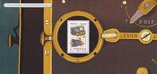 Historische fotocamera's op postzegelblokjes afgebeeld