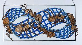 Mieren gevangen genomen in möbiusband van Escher