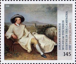 De reiziger J.W. von Goethe geschilderd in een landschap (1)